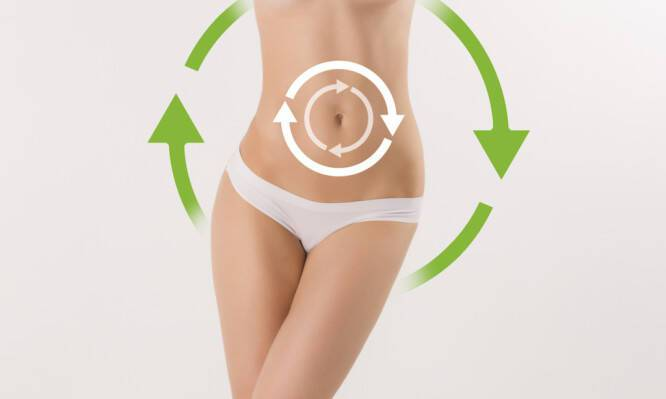 Women belly with the drawing arrows on it on white. Fat lose, liposuction and cellulite removal concept.